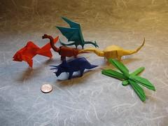 Mini Origami! (shuki.kato) Tags: fish paper origami dragon goldfish dinosaur reptile mini folding triceratops diplodocus sauropod brachiosaurus ceratopsian