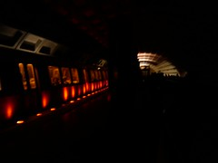 Dark Rosslyn Station - most of the lights are out.