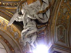 Angel supporting a rondel (jere7my) Tags: italy sculpture church angel honeymoon catholic basilica monk christian heresy ravenna emiliaromagna rondel arian santapollinarenuovo basilicaofsantapollinarenuovo saintapollinare