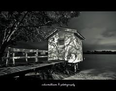 Old Norse (Mel Sinclair) Tags: longexposure cloud white black tree sunshine river coast nikon australia storage hut mangrove queensland boathouse boatshed d700 chamellieon