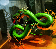 Dragontongues (Fat Heat .hu) Tags: orange moon green illustration cityscape dragon splash wacom intuos cfs coloredeffects fatheat xcept dragontongues