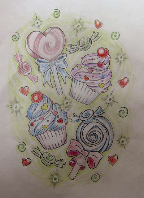 candy tattoo flash. by cláudia f.