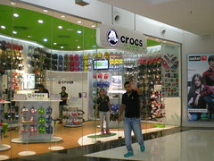 Paranoid sales person at Crocs store