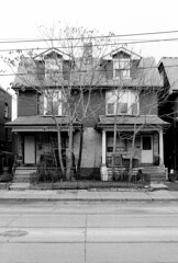 563-565 Bathurst St - February 28, 1999 (collations) Tags: houses toronto ontario architecture blackwhite documentary vernacular streetscapes bathurstst semidetached builtenvironment urbanfabric