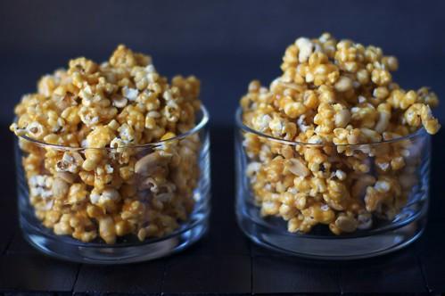 spicy caramel peanut popcorn