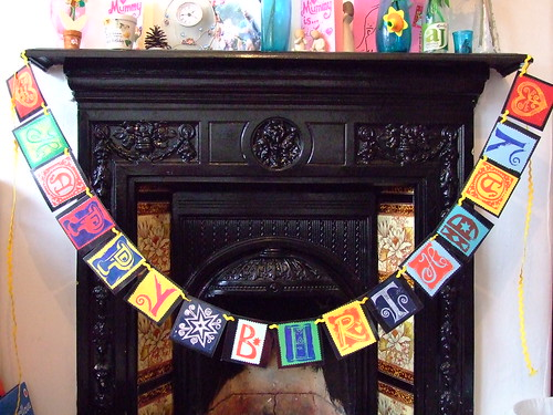 Linoprint 'Happy Birthday' bunting