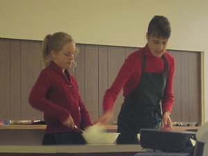 Zippy helping demonstrate at cooking school