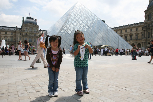 Maddy and Gwen at the Louvre - Paris
