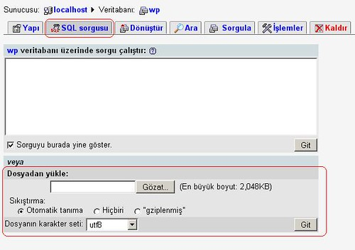Wordpress sql yedeği alma ve geri yükleme by you.