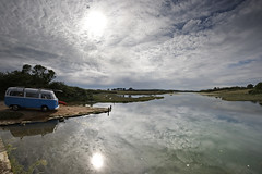 Getting away from it all... Big sky, a camper van, a kayak and a lazy river... (s0ulsurfing) Tags: trees light wild summer vacation sky cloud sunlight holiday reflection tourism nature water grass weather june