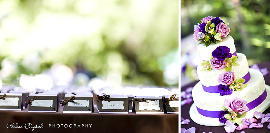 place cards brown with bow and wedding cake with purple and lavender roses