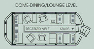 Train Chartering - Car plan of the Sierra Hotel, dome / lounge level (USA)
