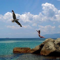 The Desire To Fly (Osvaldo_Zoom) Tags: summer italy beach girl fly seagull gull magic flight dive explore desire frontpage calabria messinastrait dp1004