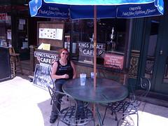 Peggy enjoying the shade on Beale St !!