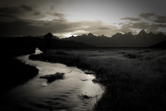 silver stream ([Adam Baker]) Tags: park sunset summer mountain clouds creek canon spring warm dusk memories grand monotone national springs kelly portfolio teton thermal wy 1740l gtnp adambaker 5dmarkii holgaesqe