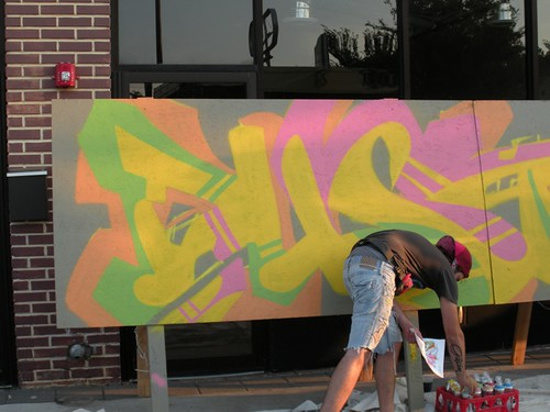 live graffiti at Live on the Plaza