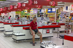 Old man resting in NTUC