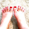 Red Toes (Ari Lynn Day) Tags: california pink red summer woman white hot cute sexy classic feet girl lady fetish toes bright cement polish pale clean barefoot milky polished piggies varnish pedi