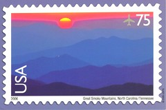 Great Smoky Mountains USPS stamp postcard (paflip25) Tags: usa mountains tennessee postcard great northcarolina postcrossing stamp usps smoky 75