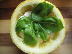 Basil on cheese in lemon
