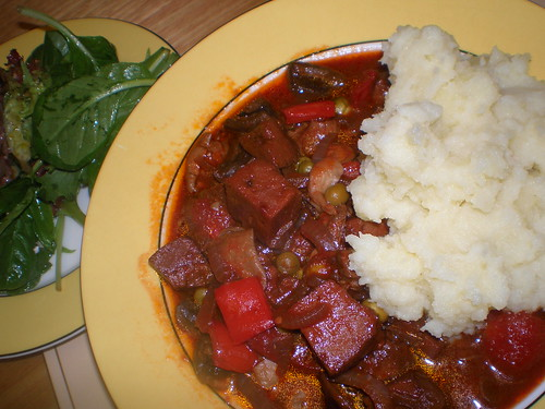 Menu: Mesculin with Raspberry Vinaigrette; Seitan Bourguignonne; Mashed Potatoes with Parsnips