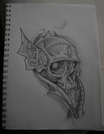 Traditional Tattoo Flash Skulls. biomechanical skull