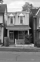 411 Pape Ave - October 30, 1988 (collations) Tags: houses toronto ontario architecture blackwhite documentary vernacular streetscapes secondempire builtenvironment 2ndempire urbanfabric gladstoneave mansardroofs secondempirestyle