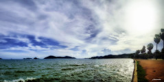 Panorama At Royal Thai Navy /  (AmpamukA) Tags: sea wallpaper sky panorama cloud sun sailboat landscape thailand bay natural navy wave palm thai orton chonburi sattahip        ampamuka