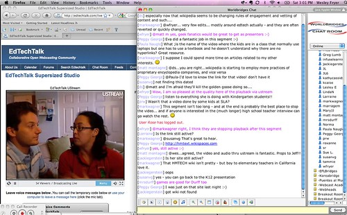 Listening to Eva and Mark Wagner discussing wikis (EdTechTalk - K12Online09 Live)