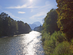 ~ brilliant back light ~ (rotraud_71) Tags: trees sky mountains clouds reflections river germany geotagged bayern bavaria reflexions badreichenhall flus saalach the4elements scenicsnotjustlandscapes vanagram mindigtopponalwaysontop