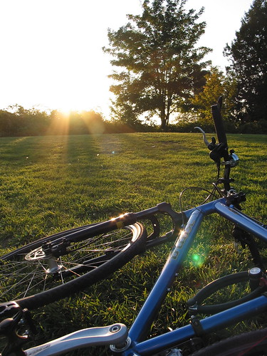 Bike at sunset in October