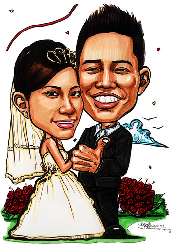 Malay couple wedding caricatures 141009