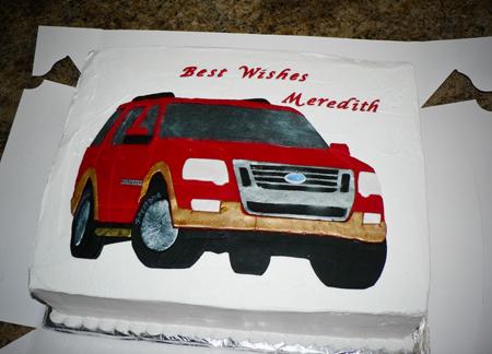 SUV cake fondant sheet cake buttercream