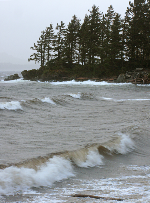 waves head to the beach at Kasaan, Alaska