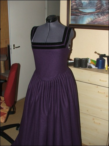 Dress with cartridge pleated skirt