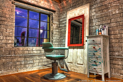 Salvage Salon Booth HDR, Phoenix AZ (www.alexsommersphotography.com) Tags: door wood arizona haircut classic texture phoenix floors canon vintage eos mirror is realestate interior indoor brickwall salon 1855 dslr salvage efs hdr xsi haveaseat oldchair f3556 wwwalexsommersphotographycom