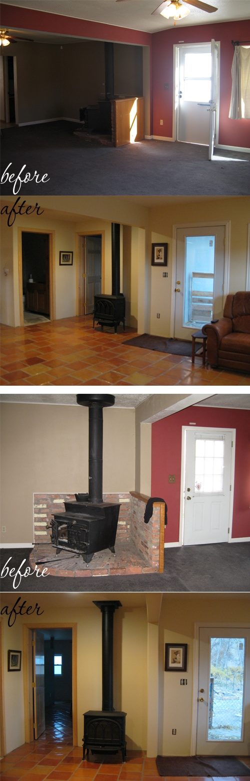 Living room with stove before and after