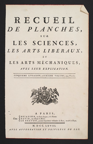 //Recueil de Planches, Title Page// Encyclopédie, ou Dictionnaire Raisonné des Sciences, des Arts et des Métiers, Volume 6. Edited by Denis Diderot and Jean le Rond d'Alembert, Paris 1768. Photograph by D Dunlop