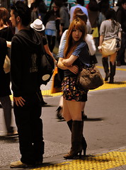 Shibuya Cutie at a crosswalk () Tags: street camera city vacation people woman girl leather fashion night asian island tokyo calle pumps highheels boots shibuya style corso mini skirt heels  nippon garota  mulheres oriental  crosswalk 70300mm mujeres isle fille rtw japon nihon edo kanto vacanze asiangirl japanesegirl shortskirt globetrotter japn honshu shoefetish blackboots schn   streetcrossing japanesefashion shibuyaward leatherboots  worldtraveler shibuyaku nightcapture 22days landoftherisingsun  nihonkoku nipponkoku tkyto   d700 tokyometropolis nikond700   tkei