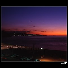 The Messina Strait from Scilla (Marina Grande) (Osvaldo_Zoom) Tags: sunset sea moon seascape landscape venus sicily scilla calabria noponte messinastrait olympusom4 noalpontesullostretto