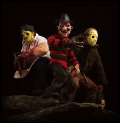 Mezco Cinema of Fear - Stylized Freddy, Jason and Leatherface (Ed Speir IV) Tags: cinema jason monster movie toy actionfigure scary leatherface fear figure horror nightmare freddy fridaythe13th stylized pvc krueger elmstreet voorhees texaschainsawmassacre mezco rotocast cinemaoffear