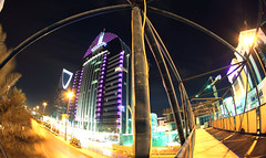 Bridge 2 (CristalArt) Tags: bridge blue red green tower colors yellow night digital canon lens four photography lights hotel al highway king seasons view angle wide cyan sigma kingdom east middle 8mm riyadh fahad novotel violett ksa anoud