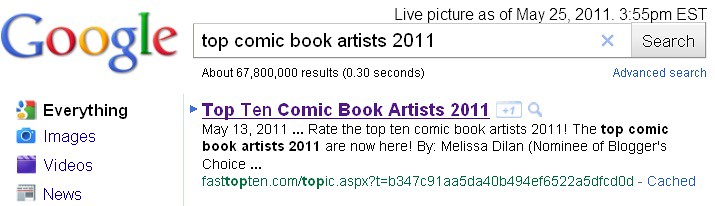 top comic book artists 2011