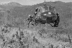16 Nov 1967, Dak To, South Vietnam --- Ready for Action (manhhai) Tags: people motion men soldier town jumping war asia southeastasia aircraft military group battle vietnam helicopter transportation vehicle americans males adults province midadult midadultman southvietnam militarypersonnel historicevent asianhistoricalevent northamericanhistoricalevent unitedstateshistoricalevent vietnamwar19591975 vietnamesehistoricalevent gialaiprovince dacto centralhighlandsregion kontumprovince