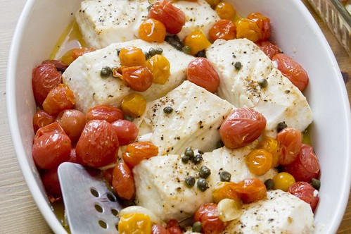 Roastey Fish and Cherry Tomatoes