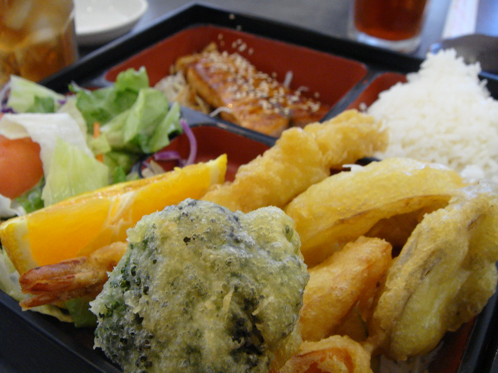 Tempura and Salmon Teriyaki Lunchbox