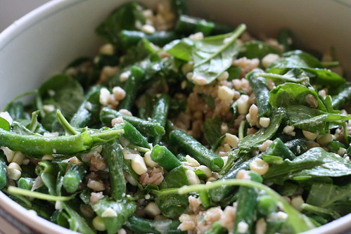 Green Bean Salad with Corn, Barley, and Arugula