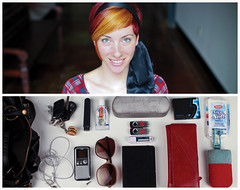 Michelle Diptych (J Trav) Tags: red portrait orange girl smile sunglasses gum bag keys persona diptych wallet michelle toothpaste pouch essential whatsinyourbag toothbrush everyday contents tissues voicerecorder earbuds bestshot coloredhair usbdrives sunglasscase theitemswecarry hamburgerkeychain