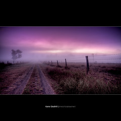 Places I've Been, and the Things I've Seen. ([ Kane ]) Tags: road sky people tree windmill grass fog rural fence dawn farm australia driveway qld kane hdr moring esk gledhill 50d kanegledhill wwwhumanhabitscomau kanegledhillphotography