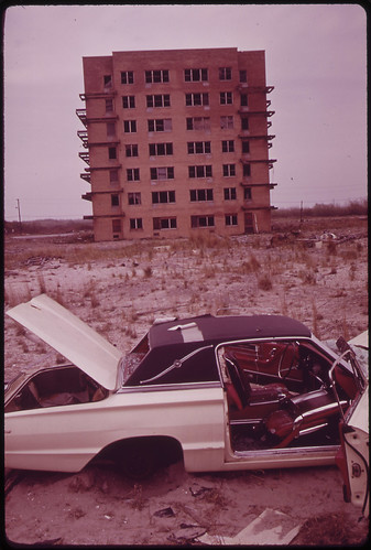 Abandoned Car and Unfinished Apartment House Construction of Highrises on Breezy Point Peninsula Was Stopped by City in Major Effort to Conserve Area for Public Recreation 05/1973